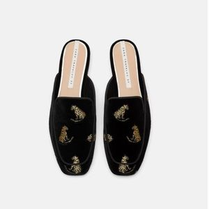 Zara Velvet Mules Black with Gold Tigers Sz 41